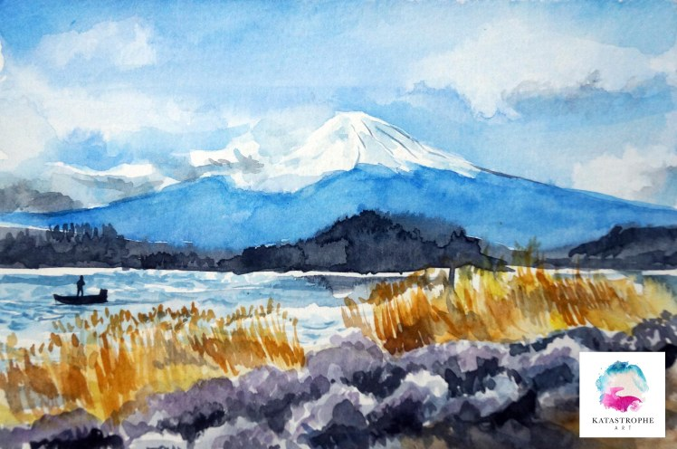 landscape watercolor with logo